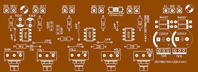Layout PCB Audio Distributor 4 Way Komplit