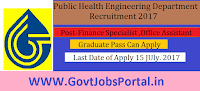 Public Health Engineering Department Recruitment 2017– 12 Finance Specialist & Office Assistant