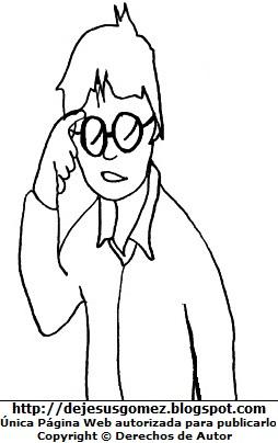 Dibujo de un hombre joven con anteojos para colorear, pintar e imprimir por el Día de la Juventud. Dibujo de joven hecho por Jesus Gómez