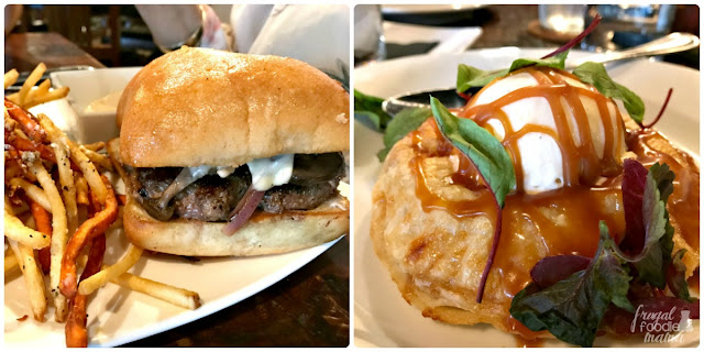 The McAllen Burger from house. wine. & bistro- A juicy burger topped with pepper jack cheese and sauteed mushrooms & onions on a golden ciabatta bun. The Apple Hand Pie with homemade cheddar ice cream.