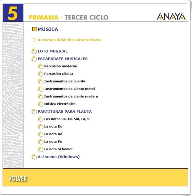 Recursos Didácticos Interactivos Anaya. Música de 5º de Primaria. (Deja huella)