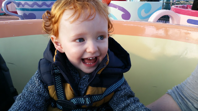 Toddler on the teacups at Disneyland Paris