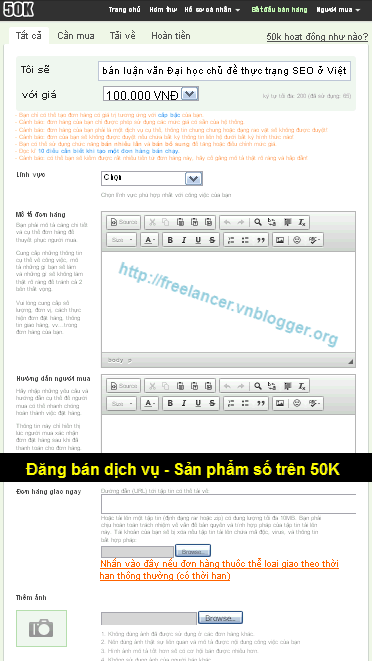 Một số lưu ý khi đăng bán dịch vụ trên 50K: