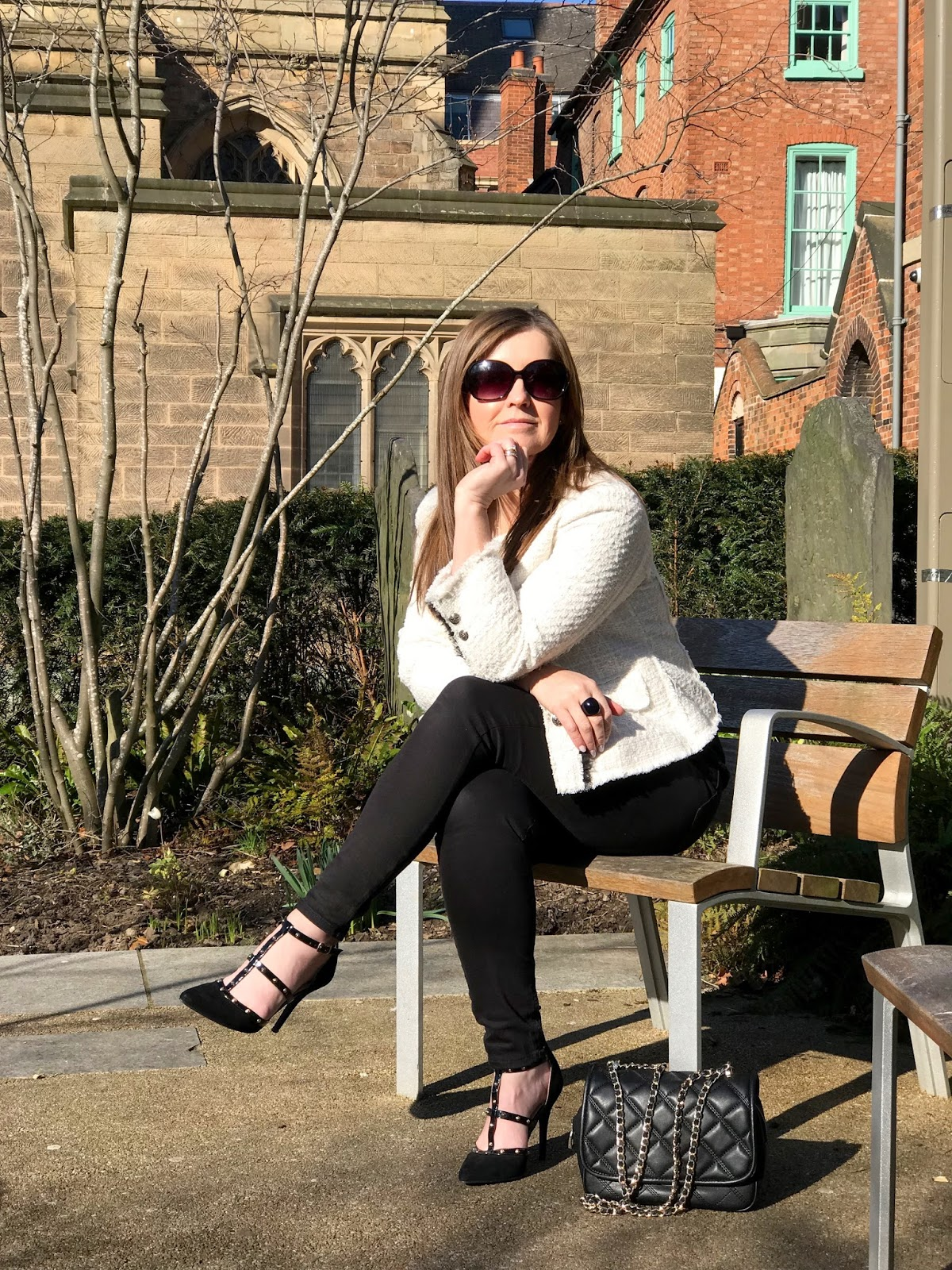 Fashion shoot at Leicester Cathedral \ Chanel inspired cream jacket  from Zara \ boucle \ tweed \ 40plus style \ Priceless Life of Mine \ over 40 lifestyle blog