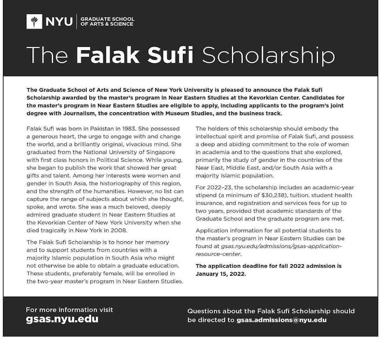 Falak Sufi Scholarship 2021 September for Master's Program Online Apply  Latest - Male, Female
