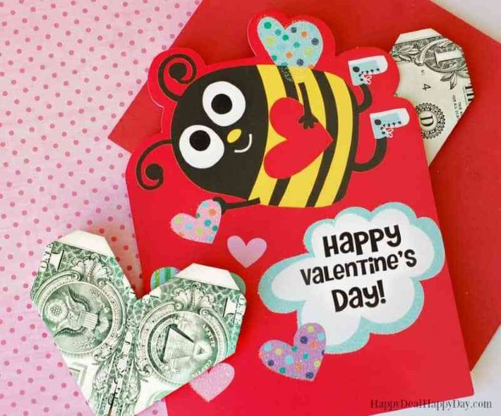 These cute homemade dollar origami make great Valentine's Day gifts
