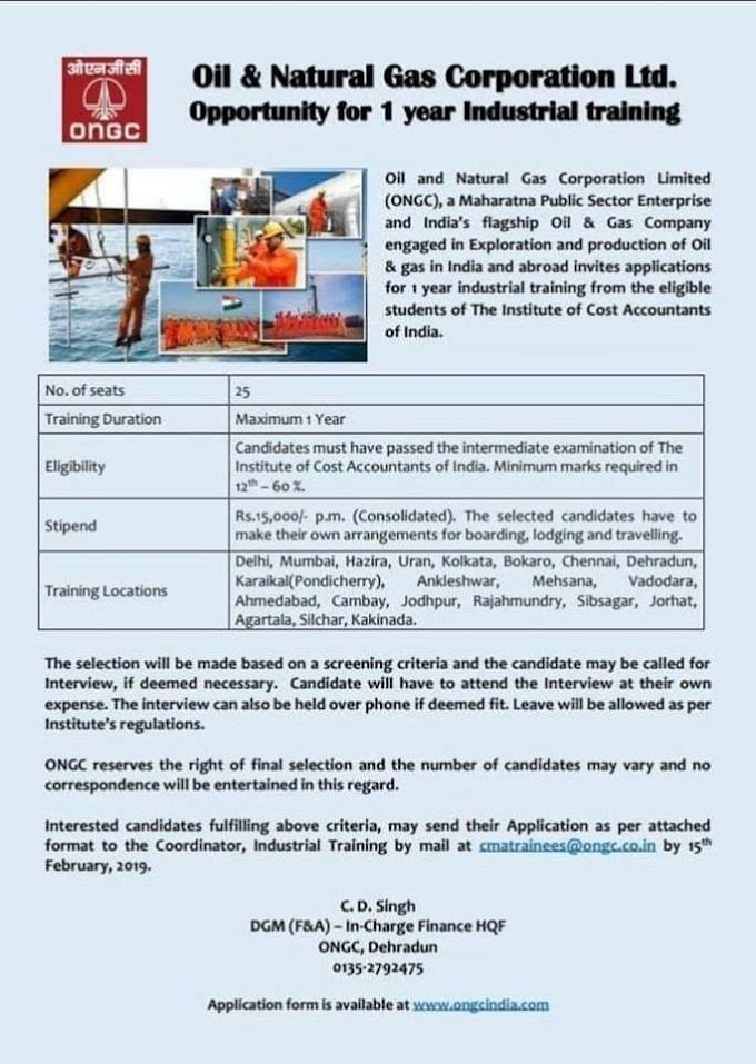 Industrial Training in ONGC for CMA Intermediate Students