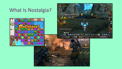 "Title: What Is Nostalgia? Features screenshots from World of Warcraft, showing the skills bar on the bottom populated with icons and various other game information, the player character in the bottom middle and various other players in the background. From Gears of War, a man and a woman against a reddish smoky sky facing enemy fire. From Candy Crush, a screen filled with candy pieces in a grid with the word ""Delicious"" written across them."
