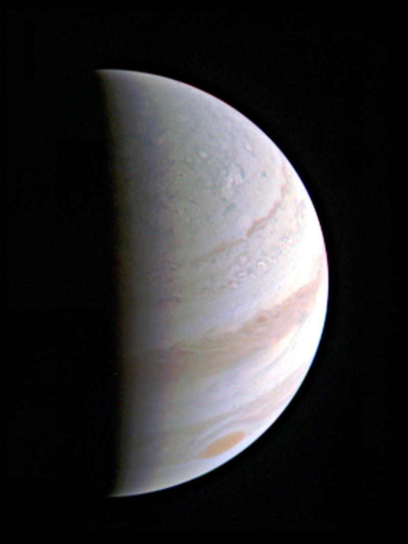 Esta imagen muestra el polo norte de Júpiter