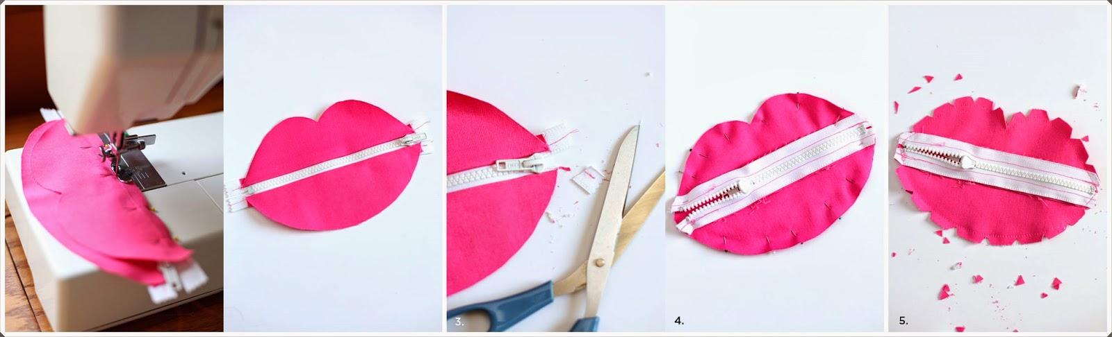 Dudak şeklinde Makyaj çantası Yapımı