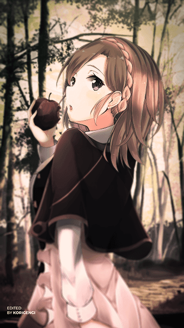 Eating Apple - Anime Girl Wallpaper