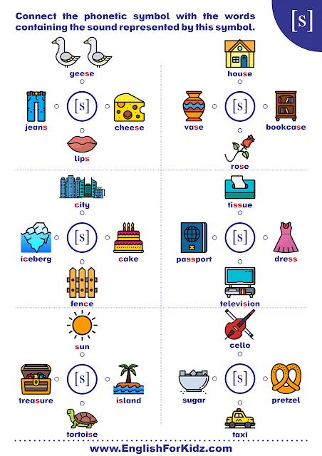 Phonics worksheet based on International Phonetic Alphabet - consonant sound s