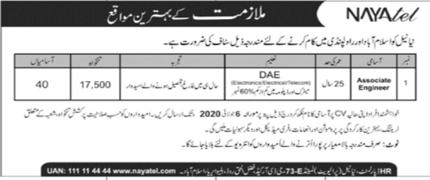Nayatel Jobs 2020 Islamabad / Rawalpindi Online Apply Latest Advertisement