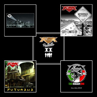 FM albums and EPs cover art - Metropolis / City Limits EP / Rockville II / Futurama / The Italian Job
