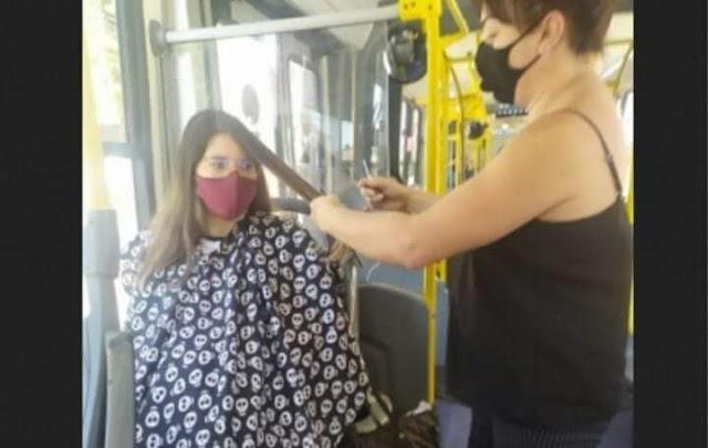 """Cabeleireira de Curitiba atende clientes em ônibus: """"AQUI NÃO TEM VÍRUS"""""""