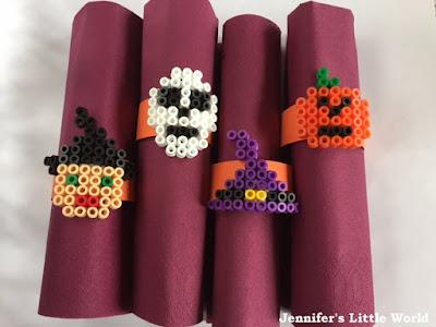 Hama bead Halloween themed napkin rings