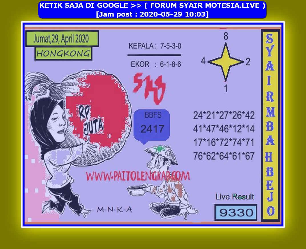 Kode syair Hongkong Jumat 29 Mei 2020 114