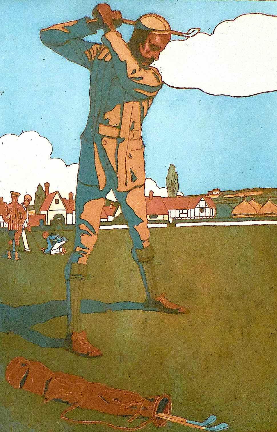 a Bernard Boutet de Monvel illustration of a vintage golfer in swing