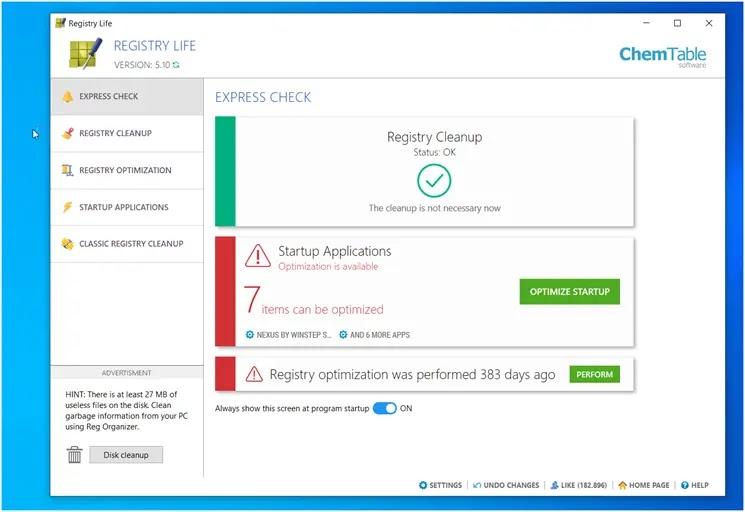 Registry Life : Βελτιώστε την ταχύτητα και τη σταθερότητα λειτουργίας του υπολογιστή σας