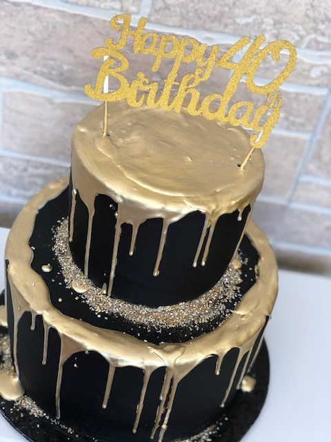 Baking With Roxanas Cakes Black And Gold 40th Birthday Cake