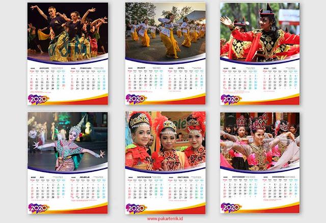 Template Kalender 2020 Format CDR dan AI 6 Lembar Langsung Cetak