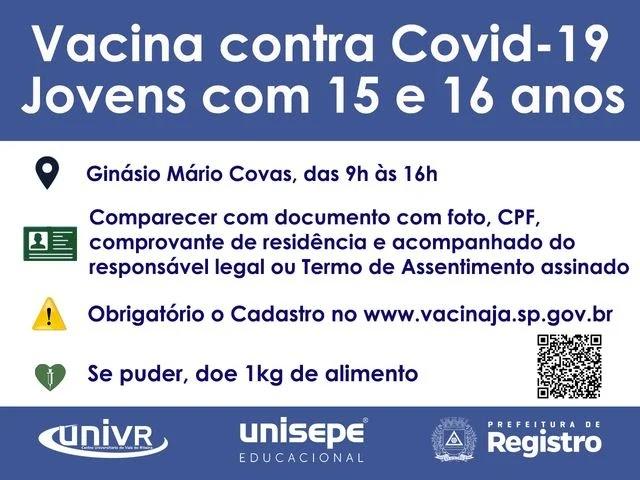 Vacina contra Covid-19 - jovens com 15 e 16 anos em Registro-SP
