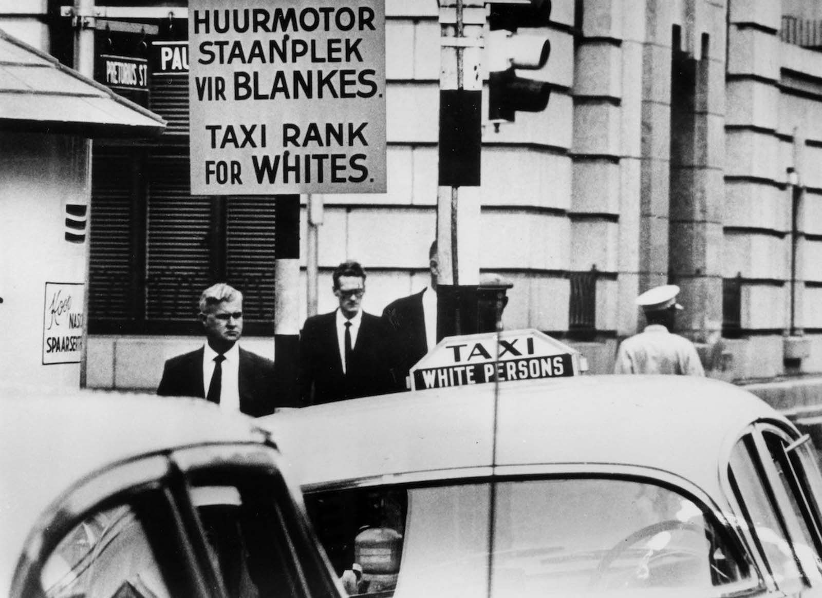 A Taxi rank for white people. 1967.