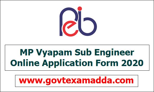 MP Vyapam Sub Engineer Online Application Form 2020