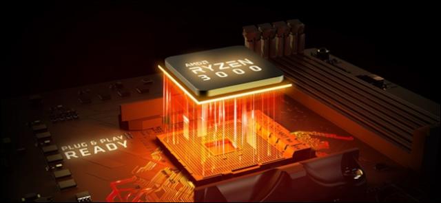 Ryzen 3000 وحدة المعالجة المركزية مع الضوء البرتقالي تتداخل في المقبس اللوحة الأم.