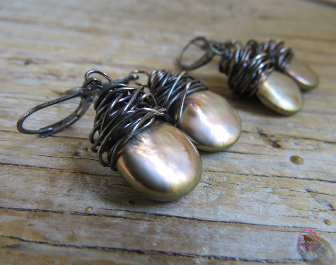 MagpieMadness: Platinum Baroque Pearl Earrings in Oxidized Silver ...