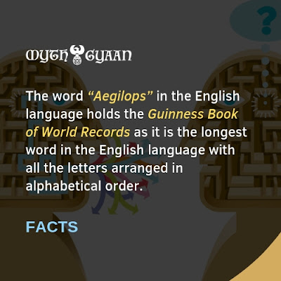 "English Facts: The word ""Aegilops"" in the English language holds the Guinness Book of World Records as it is the longest word in the English language with all the letters arranged in alphabetical order."