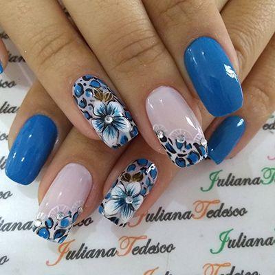 unhas decoradas azuis 2