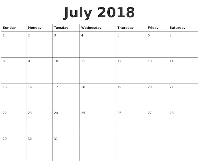 July 2018 Free calendar holidays