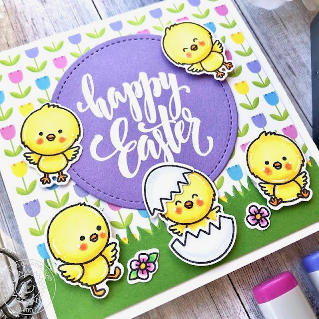 Sunny Studio Stamps: Chickie Baby Sunny Sentiment Dies Easter Card by Lynn Put