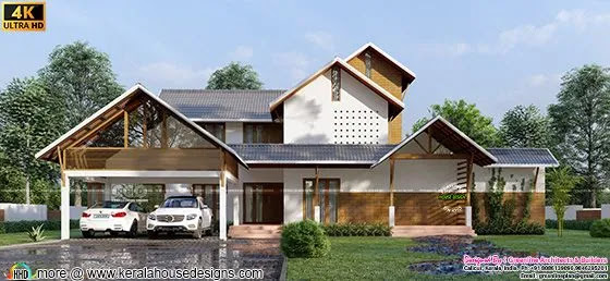 4 bedroom traditional sloped roof home plan