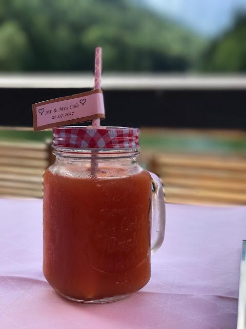Mason jar summer drink, Wedding abroad, Mountain wedding lake-side at the Riessersee Hotel Resort Bavaria, Germany, Garmisch-Partenkirchen