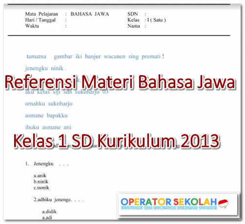Materi Bahasa Jawa Kelas 1 SD Kurikulum 2013
