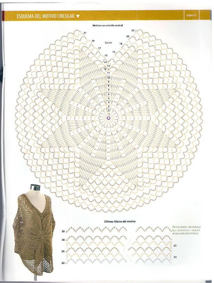 ❤ ✿ Mi Rincón del Tejido ✿ ❤: Poncho con diseño de flor central ...