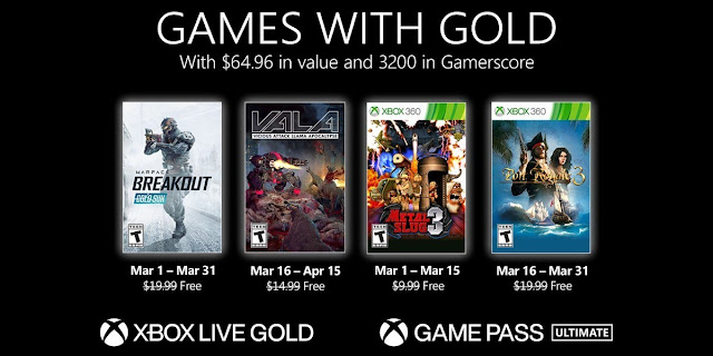 4 Free Games From Xbox Live Gold March 2021
