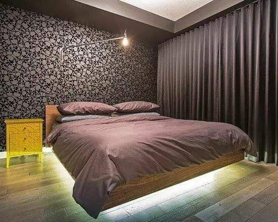 Floating bed with led and modern wallpaper