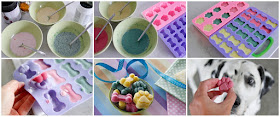 Making pretty pastel frozen dog treats with natural food colourings