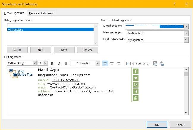 Add signature in Microsoft Outlook 2019
