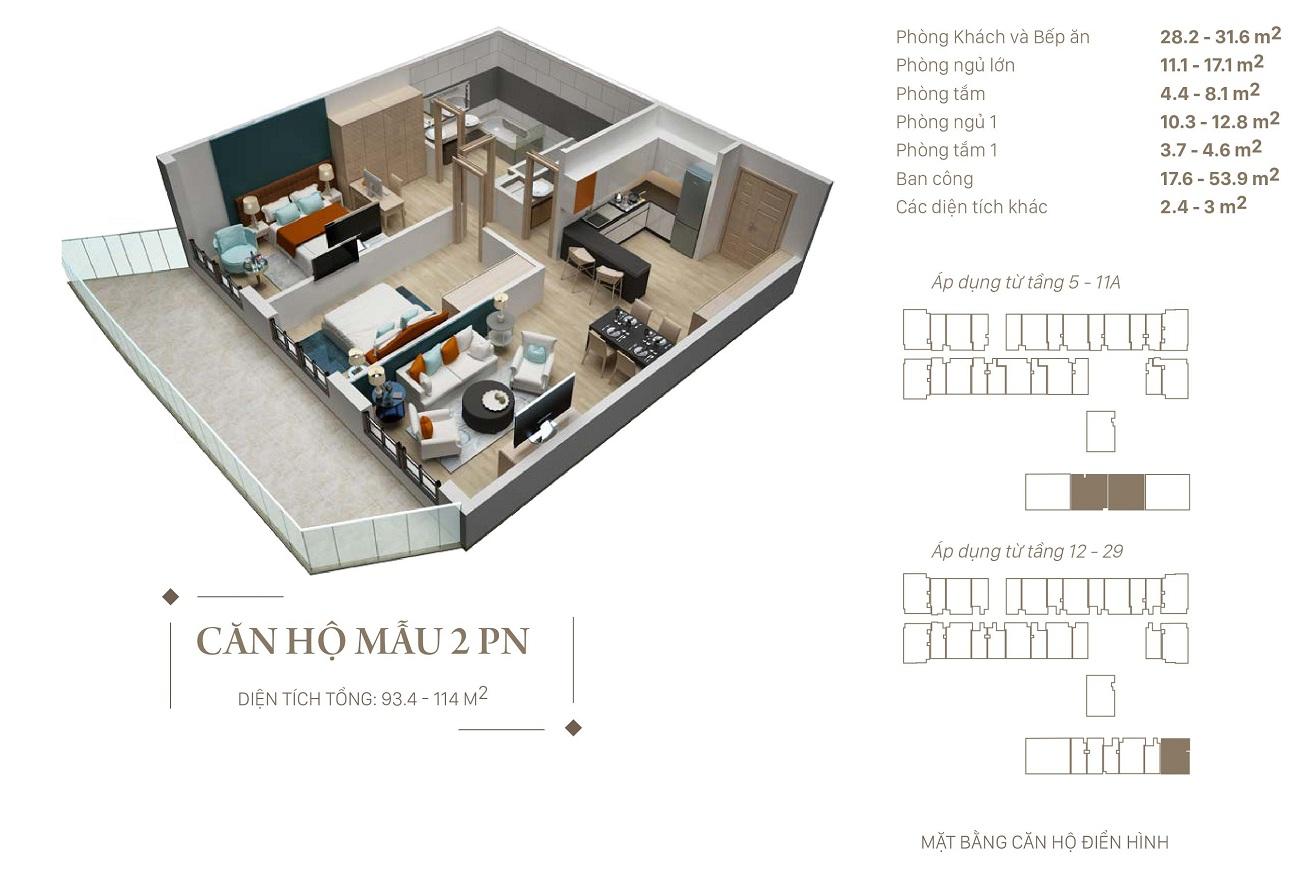 Mẫu thiết kế căn 2 ngủ