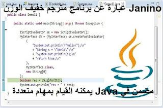 Janino عبارة عن برنامج مترجم خفيف الوزن مضمن في Java يمكنه القيام بمهام متعددة