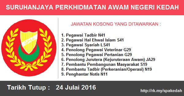 Jawatan Kosong di Suruhanjaya Perkhidmatan Awam Negeri Kedah