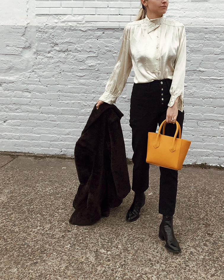 Dagne Dover hello Petite Tote onyx, Aritzia denim button fly wilfred jeans, Rag & Bone boots, vintage silk blouse