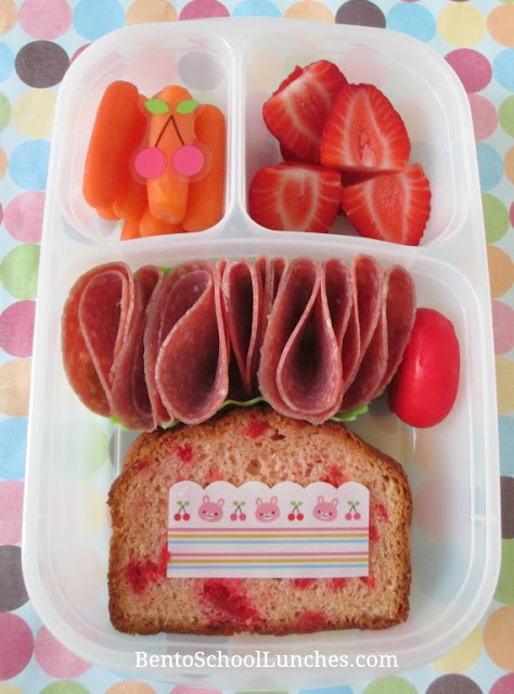 Cherry bread, nitrate free salami bento lunch