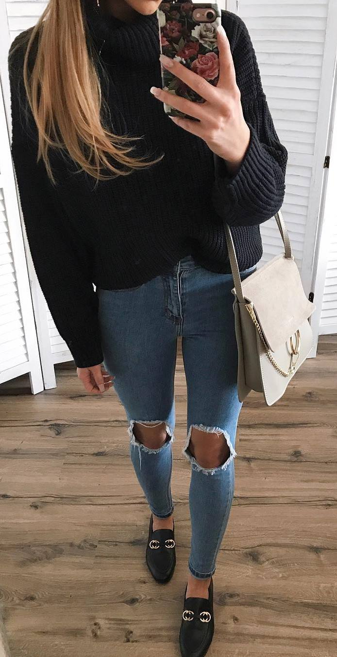 stylish look | black sweater + bag + ripped jeans + loafers