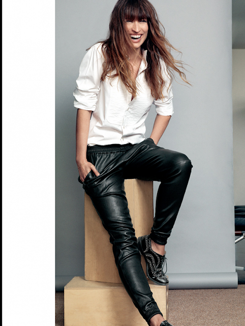 Caroline de Maigret in black leather pants