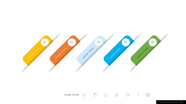 Icon and Number Options for 5 Step Infographics Slide 3